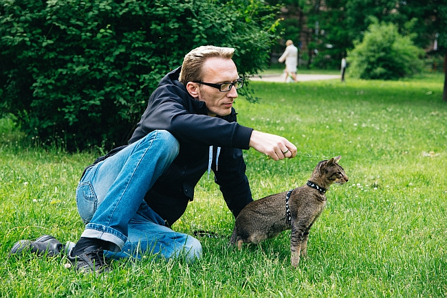 man in the park with cat on leash